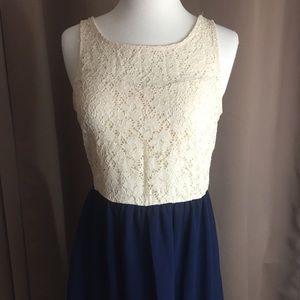 Cream Lace and Navy Hi Low Hem Dress Sleeveless